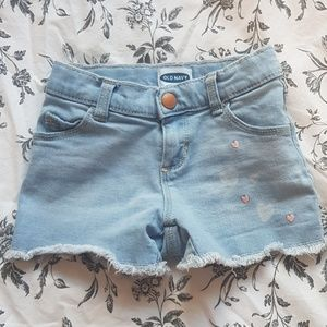 Old Navy girls cut off denim short with lovehearts